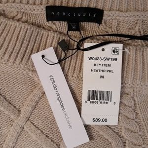 Sanctuary Sweaters - Sanctuary cream ribbed cable knit tunic sweater